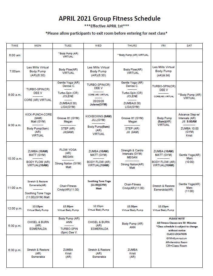April Fitness Schedule